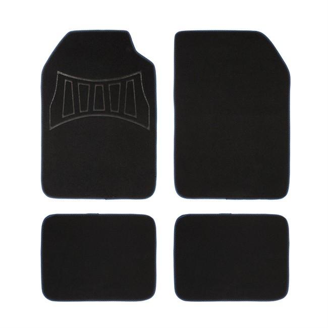 4 tapis de voiture universels moquette 1er prix confiance noir et bleu. Black Bedroom Furniture Sets. Home Design Ideas