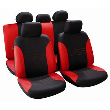 jeu complet de housses universelles voiture sp cial berline norauto vancouver noires et rouges. Black Bedroom Furniture Sets. Home Design Ideas